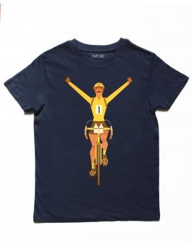 Tee shirt enfant bleu ''maillot jaune''