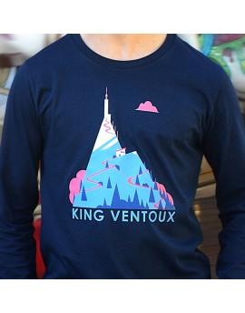 "Tee shirt manche longue en coton bio homme ""King Ventoux"" bleu"