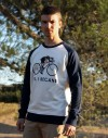"Sweat shirt homme ""Hypster"" bleu  rayures blanches"