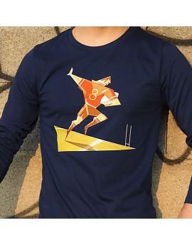 "Tee shirt manche longue en coton bio homme ""raffut"" bleu"