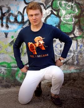 "Tee shirt manche longue en coton bio homme ""Urban style"" bleu"