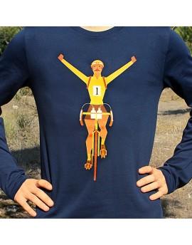 """Tee shirt manche longue en coton bio homme """"Maillot jaune"""" bleu"""