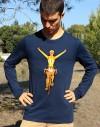 """Tee shirt manche longue homme """"Maillot jaune"""" bleu"""
