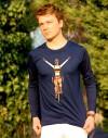 "Tee shirt manche longue homme ""Champion du monde"" bleu"