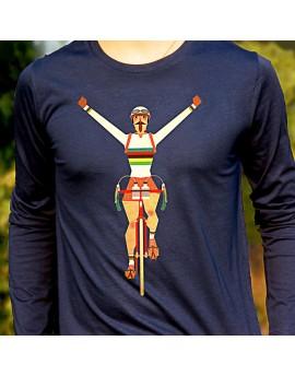 """Tee shirt manche longue en coton bio homme """"Champion du monde"""" bleu"""