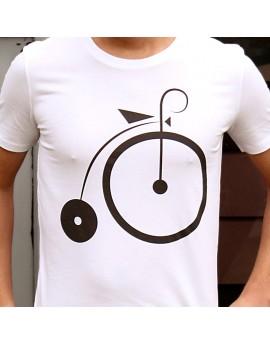 """Tee shirt homme """"Vélocipède"""" blanc"""