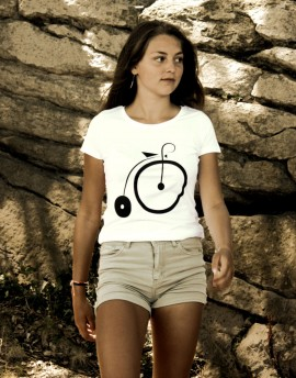 "Tee shirt femme ""Grand BI'' sérigraphie blanc"